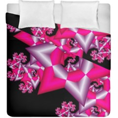 Star Of David On Black Duvet Cover Double Side (king Size) by Simbadda