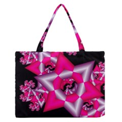 Star Of David On Black Medium Zipper Tote Bag by Simbadda