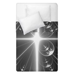 Black And White Bubbles On Black Duvet Cover Double Side (single Size) by Simbadda