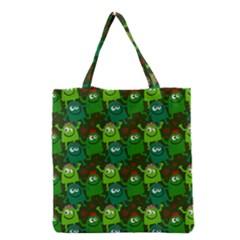 Seamless Little Cartoon Men Tiling Pattern Grocery Tote Bag by Simbadda