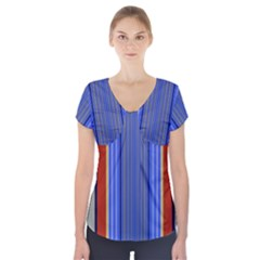 Colorful Stripes Background Short Sleeve Front Detail Top by Simbadda