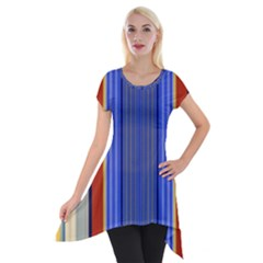 Colorful Stripes Background Short Sleeve Side Drop Tunic