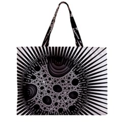 Fractal Background Black Manga Rays Zipper Mini Tote Bag by Simbadda