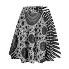 Fractal Background Black Manga Rays High Waist Skirt by Simbadda