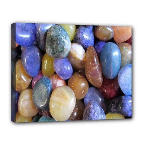 Rock Tumbler Used To Polish A Collection Of Small Colorful Pebbles Canvas 14  X 11