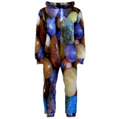 Rock Tumbler Used To Polish A Collection Of Small Colorful Pebbles Hooded Jumpsuit (ladies)