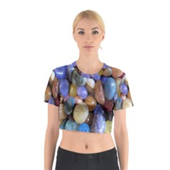 Rock Tumbler Used To Polish A Collection Of Small Colorful Pebbles Cotton Crop Top
