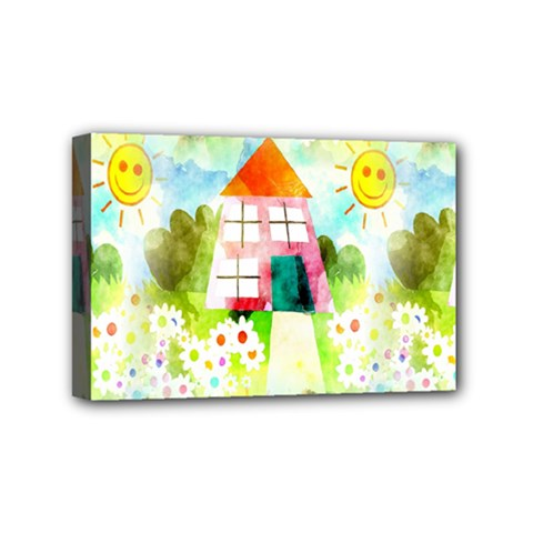 Summer House And Garden A Completely Seamless Tile Able Background Mini Canvas 6  X 4  by Simbadda