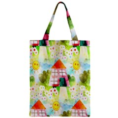 Summer House And Garden A Completely Seamless Tile Able Background Zipper Classic Tote Bag by Simbadda
