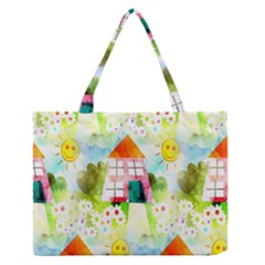 Summer House And Garden A Completely Seamless Tile Able Background Medium Zipper Tote Bag by Simbadda