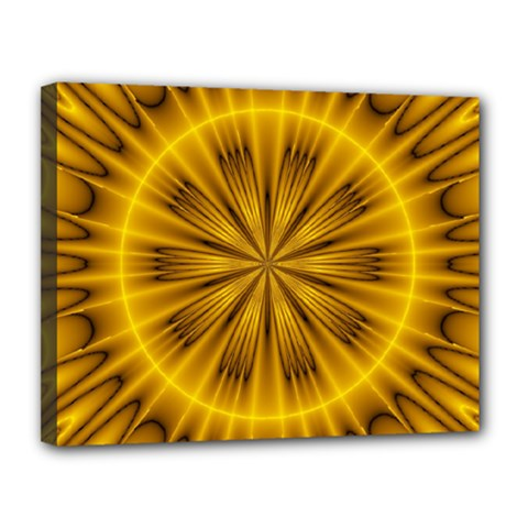 Fractal Yellow Kaleidoscope Lyapunov Canvas 14  X 11  by Simbadda