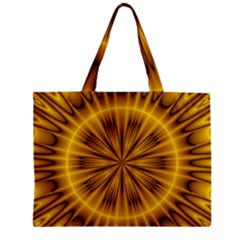 Fractal Yellow Kaleidoscope Lyapunov Zipper Mini Tote Bag by Simbadda