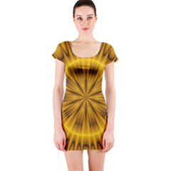 Fractal Yellow Kaleidoscope Lyapunov Short Sleeve Bodycon Dress