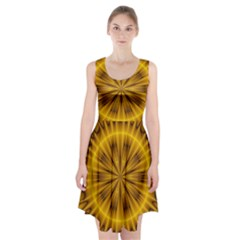 Fractal Yellow Kaleidoscope Lyapunov Racerback Midi Dress