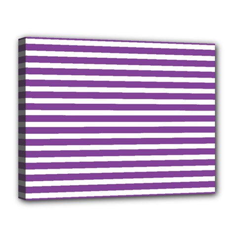 Horizontal Stripes Purple Canvas 14  X 11