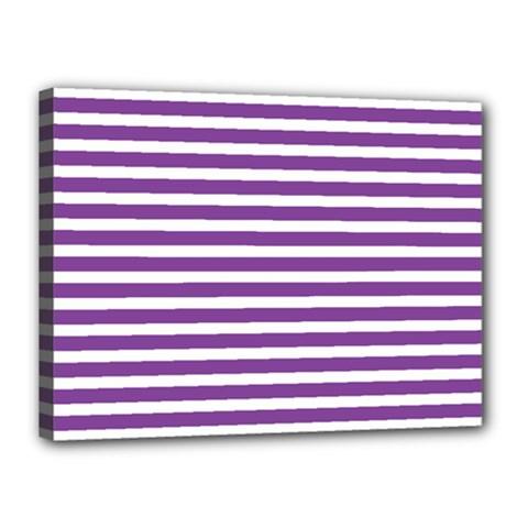 Horizontal Stripes Purple Canvas 16  X 12