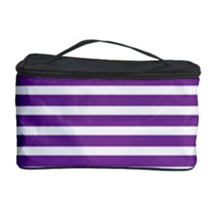 Horizontal Stripes Purple Cosmetic Storage Case by Mariart