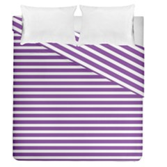 Horizontal Stripes Purple Duvet Cover Double Side (queen Size)