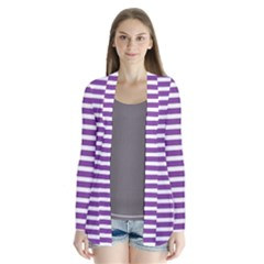Horizontal Stripes Purple Cardigans