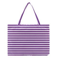 Horizontal Stripes Purple Medium Tote Bag by Mariart