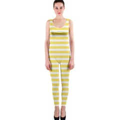 Horizontal Stripes Yellow Onepiece Catsuit