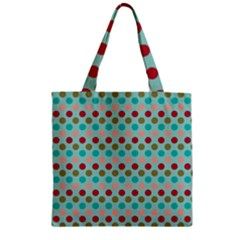 Large Colored Polka Dots Line Circle Zipper Grocery Tote Bag by Mariart