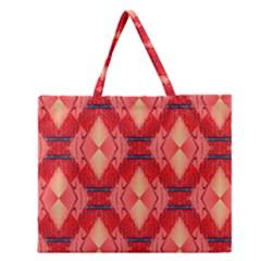 Orange Fractal Background Zipper Large Tote Bag by Simbadda