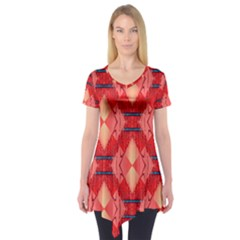 Orange Fractal Background Short Sleeve Tunic