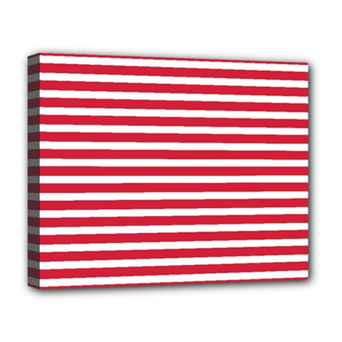 Horizontal Stripes Red Deluxe Canvas 20  X 16   by Mariart