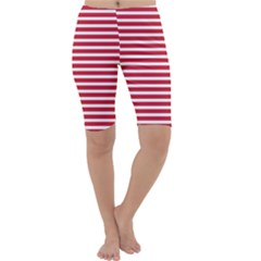 Horizontal Stripes Red Cropped Leggings