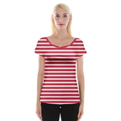 Horizontal Stripes Red Women s Cap Sleeve Top by Mariart