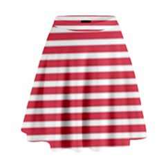 Horizontal Stripes Red High Waist Skirt by Mariart