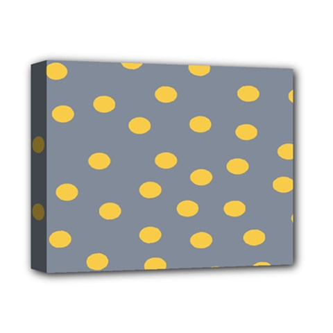 Limpet Polka Dot Yellow Grey Deluxe Canvas 14  X 11  by Mariart