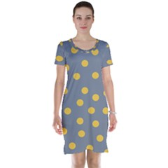 Limpet Polka Dot Yellow Grey Short Sleeve Nightdress by Mariart