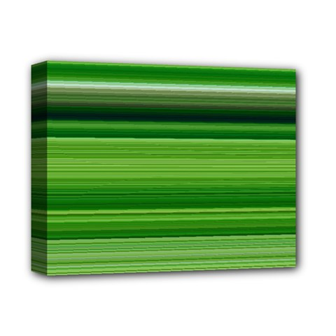 Horizontal Stripes Line Green Deluxe Canvas 14  X 11  by Mariart