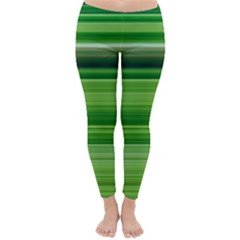 Horizontal Stripes Line Green Classic Winter Leggings by Mariart