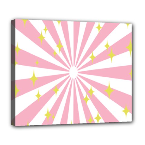 Hurak Pink Star Yellow Hole Sunlight Light Deluxe Canvas 24  X 20   by Mariart