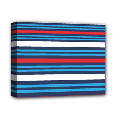 Martini Style Racing Tape Blue Red White Deluxe Canvas 14  X 11  by Mariart