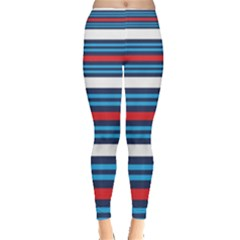 Martini Style Racing Tape Blue Red White Leggings  by Mariart