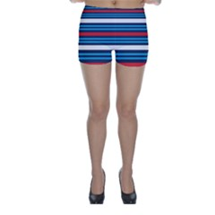 Martini Style Racing Tape Blue Red White Skinny Shorts by Mariart