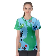 New Zealand Birds Detail Animals Fly Women s Sport Mesh Tee by Mariart