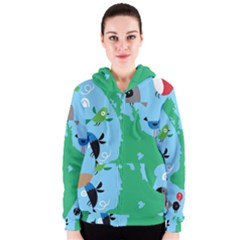 New Zealand Birds Detail Animals Fly Women s Zipper Hoodie by Mariart