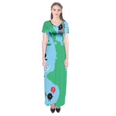 New Zealand Birds Detail Animals Fly Short Sleeve Maxi Dress by Mariart