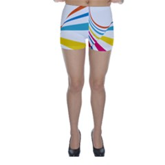 Line Rainbow Orange Blue Yellow Red Pink White Wave Waves Skinny Shorts by Mariart