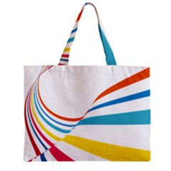 Line Rainbow Orange Blue Yellow Red Pink White Wave Waves Zipper Mini Tote Bag by Mariart