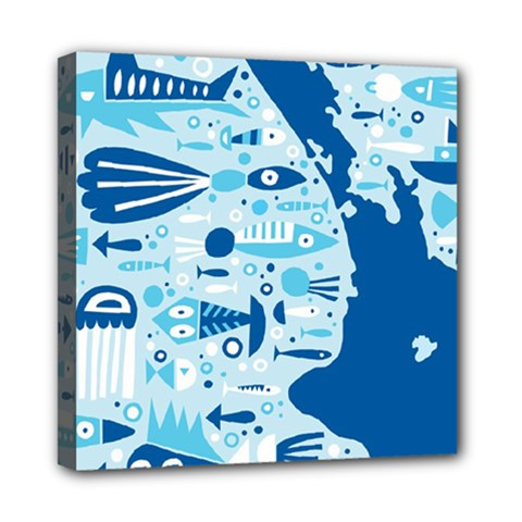 New Zealand Fish Detail Blue Sea Shark Mini Canvas 8  X 8  by Mariart