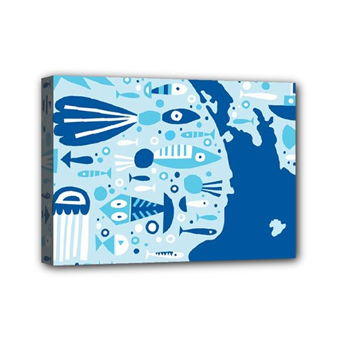 New Zealand Fish Detail Blue Sea Shark Mini Canvas 7  X 5  by Mariart