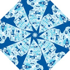 New Zealand Fish Detail Blue Sea Shark Hook Handle Umbrellas (small) by Mariart