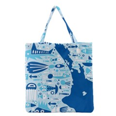 New Zealand Fish Detail Blue Sea Shark Grocery Tote Bag by Mariart