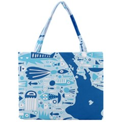 New Zealand Fish Detail Blue Sea Shark Mini Tote Bag by Mariart